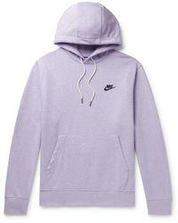 Nike Logo-print Cotton-blend Jersey Hoodie - Purple