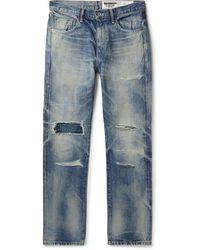 Neighborhood Claw Mod Savage Slim-fit Distressed Embroidered Denim Jeans - Blue