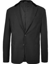 Giorgio Armani - Black Velvet-trimmed Textured-jersey Blazer - Lyst