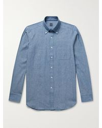 Beams F Button-down Collar Cotton-chambray Shirt - Blue