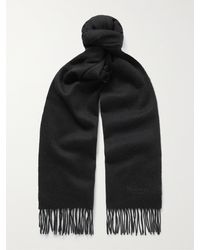 Mulberry Logo-embroidered Fringed Lambswool Scarf - Black