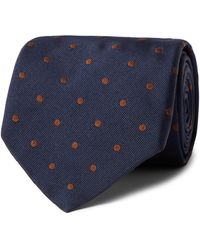 Anderson & Sheppard 9cm Polka-dot Embroidered Silk-twill Tie - Blue