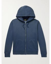 RRL Washed Cotton-blend Jersey Zip-up Hoodie - Blue