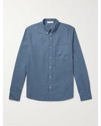 Save Khaki Garment-dyed Button-down Collar Cotton Oxford Shirt - Blue