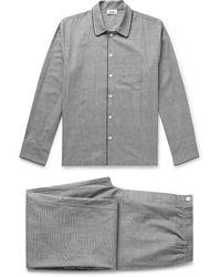 Sleepy Jones Henry Piped Prince Of Wales Checked Cotton-poplin Pajama Set - Black