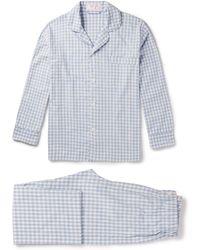 Emma Willis Gingham Brushed-cotton Pyjama Set - Blue