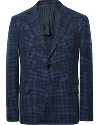 Mp Massimo Piombo - Navy Slim-fit Checked Cotton Blazer - Lyst