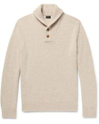 J.Crew | - Shawl-collar Mélange Wool Sweater - Beige | Lyst
