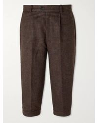 Kingsman Oxford Cropped Tapered Prince Of Wales Checked Wool Suit Pants - Brown