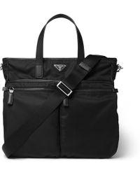 Prada - Leather-trimmed Nylon Tote Bag - Lyst