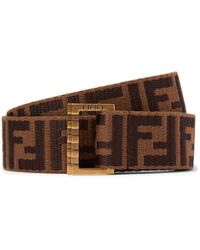 Fendi - 3.5cm Brown Webbing And Leather Belt - Lyst