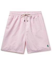 Polo Ralph Lauren Traveler Mid-length Gingham Swim Shorts - Pink