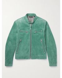 Tom Ford Slim-fit Suede Blouson Jacket - Blue