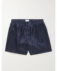 Derek Rose Printed Silk Boxer Shorts - Blue