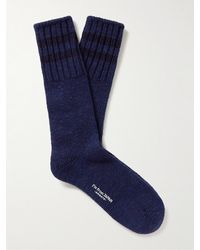 Blue Blue Japan Striped Cotton-blend Socks - Blue