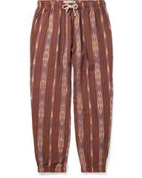 Mollusk Jeffrey Slim-fit Tapered Cotton-jacquard Drawstring Pants - Brown