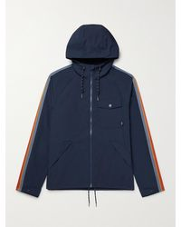 Faherty All Conditions Webbing-trimmed Recycled Shell Hooded Jacket - Blue