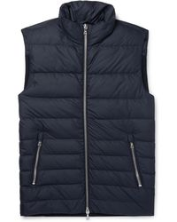 Officine Generale - Slim-fit Shell And Ribbed Wool-blend Down Vest - Lyst