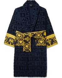 Versace - Logo-jacquard Panelled Cotton-terry Robe - Lyst