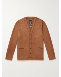 Monitaly Checked Textured-knit Cardigan - Brown