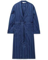 Derek Rose Lingfield Satin-striped Cotton Robe - Blue