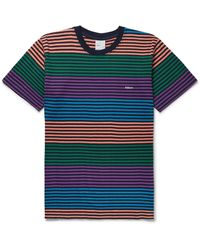 Adsum Candy Logo-embroidered Striped Cotton-jersey T-shirt - Blue