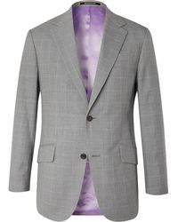 Richard James Checked Wool Suit Jacket - Gray