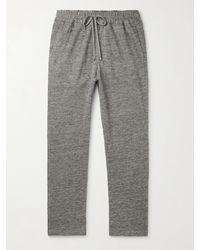Barena Tapered Mélange Cotton And Linen-blend Sweatpants - Grey