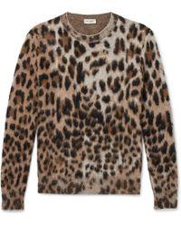 Saint Laurent - Slim-fit Leopard-print Mohair-blend Jumper - Lyst