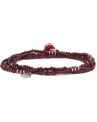 Isaia - Garnet Bead And Silver Wrap Bracelet - Lyst