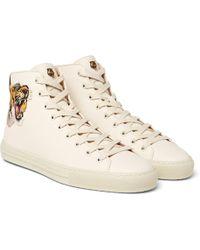 Gucci Major Appliquéd Full-grain Leather High-top Sneakers - Natural