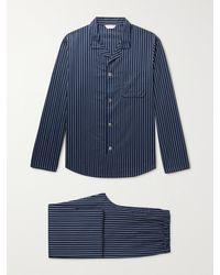 Derek Rose Royal Striped Cotton Pyjama Set - Blue