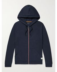 Paul Smith Grosgrain-trimmed Cotton-jersey Zip-up Hoodie - Blue