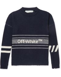Off-White c/o Virgil Abloh - Oversized Distressed Logo-intarsia Wool Sweater - Lyst