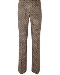 Gucci Slim-fit Bootcut Logo-jacquard Wool Suit Pants - Brown