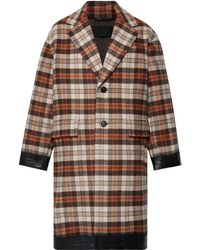 Prada - Oversized Rubber-trimmed Checked Wool-blend Coat - Lyst