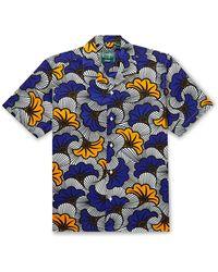 Gitman Brothers Vintage Camp-collar Printed Cotton Shirt - Blue