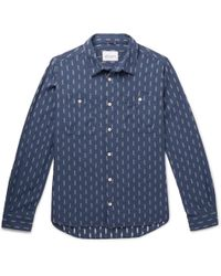 Albam - Embroidered Cotton-chambray Shirt - Lyst