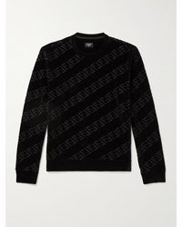 Fendi Slim-fit Logo-flocked Cotton-blend Jersey Sweatshirt - Black