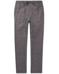 NN07 - Lenny Wool And Linen-blend Drawstring Trousers - Lyst