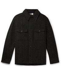 Isabel Marant Gervon Herringbone Mélange Virgin Wool Overshirt - Black