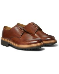 Grenson Curt Hand-painted Leather Derby Shoes - Brown