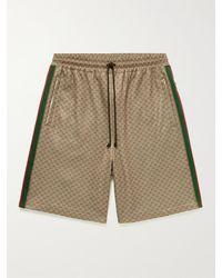 Gucci Wide-leg Striped Logo-jacquard Drawstring Shorts - Multicolour