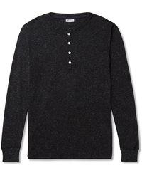 Schiesser Karl Heinz Mélange Cotton-blend Jersey Henley T-shirt - Black