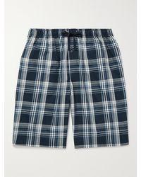 Schiesser Checked Cotton-poplin Pyjama Shorts - Blue