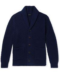 J.Crew Shawl-collar Ribbed Cotton Cardigan - Blue