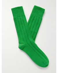 Bottega Veneta Ribbed Cashmere Socks - Green