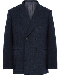 Mp Massimo Piombo - Navy Double-breasted Prince Of Wales Checked Slub Wool-blend Blazer - Lyst