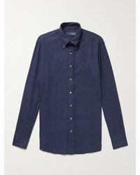 Lardini Slim-fit Button-down Collar Brushed Cotton And -blend Shirt - Blue
