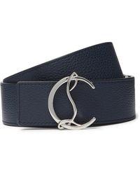 Christian Louboutin 4cm Full-grain Leather Belt - Blue